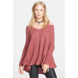 Free People Dark Rose Moonshine V Neck Sweater